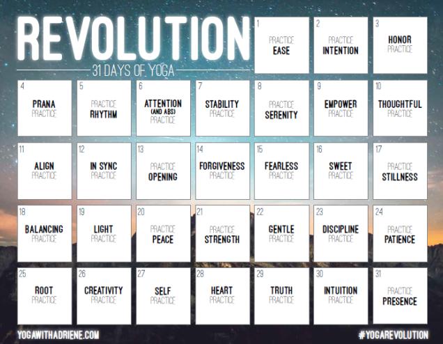 calendrier yoga revolution challenge