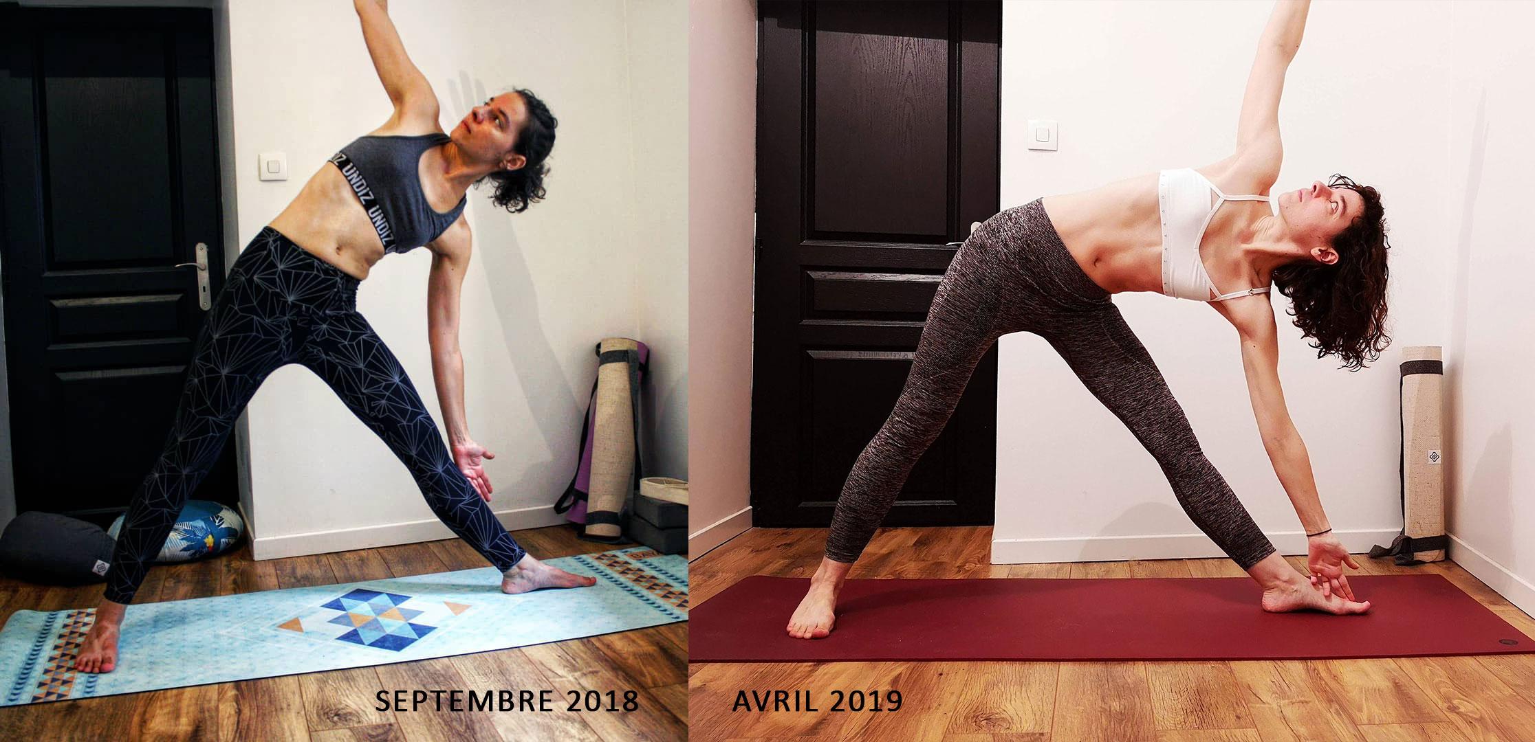 Evolution posture du triangle trikonasana au yoga
