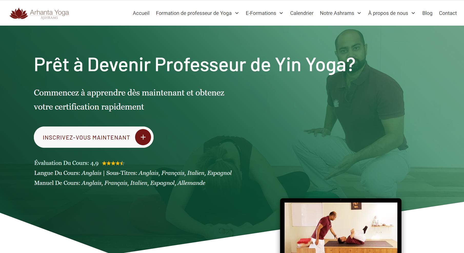 Formation yin yoga Arhanta